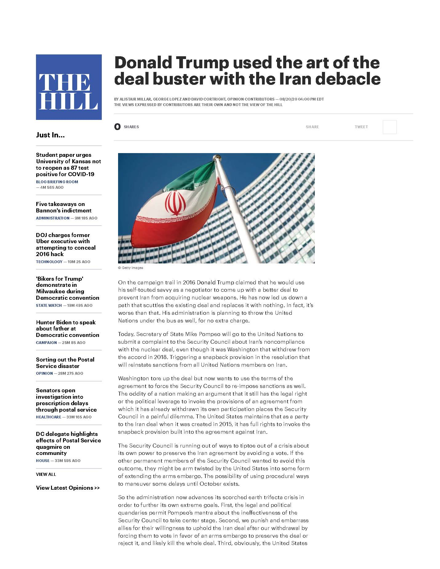 Donald Trump used the Art of the Deal Buster with the Iran Debacle